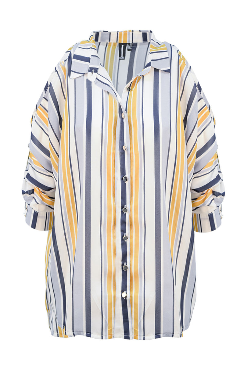 Yellow | Striped Shoulder Reveal Box Shirt