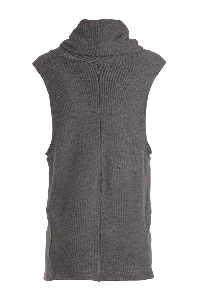 Grey | Deep Cowl Longer Length Top