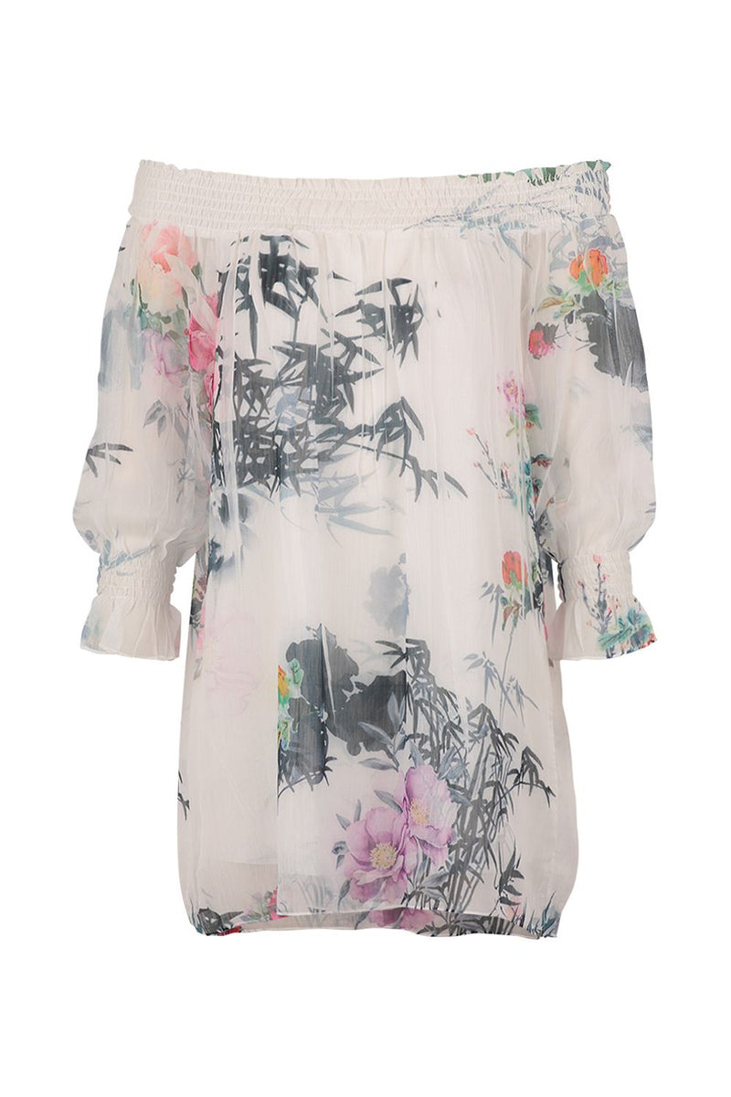 White | Tropical Floral Print Blouse