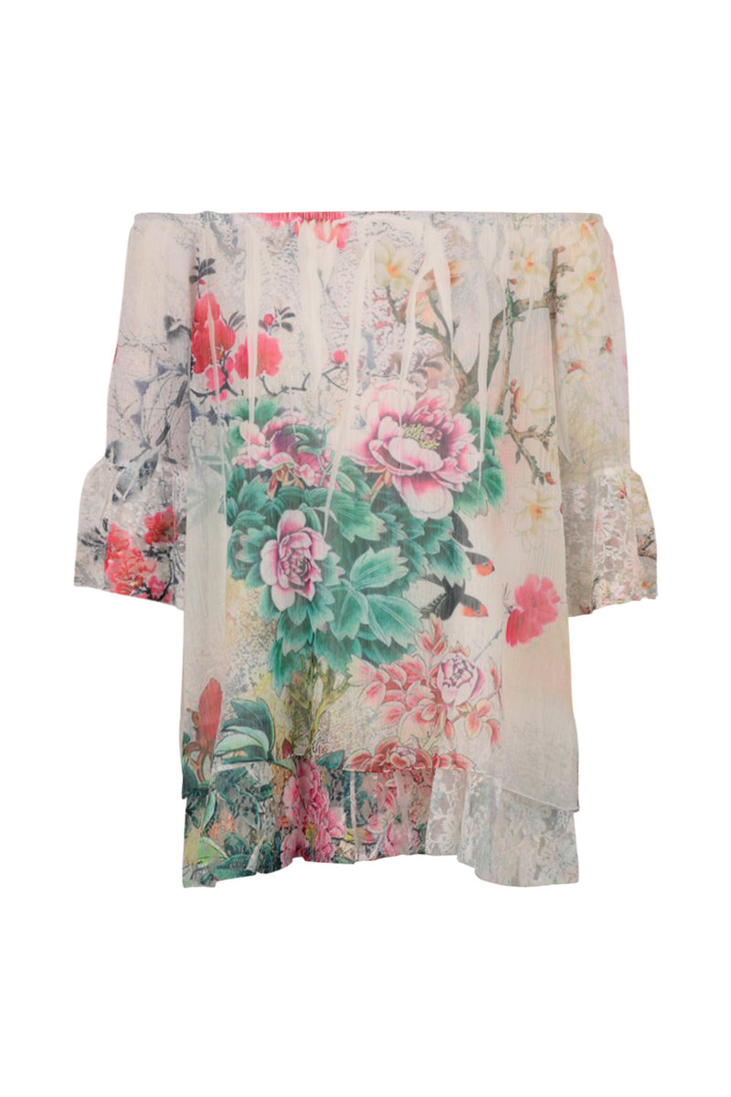 Floral Print Bardot Top - Izabel London