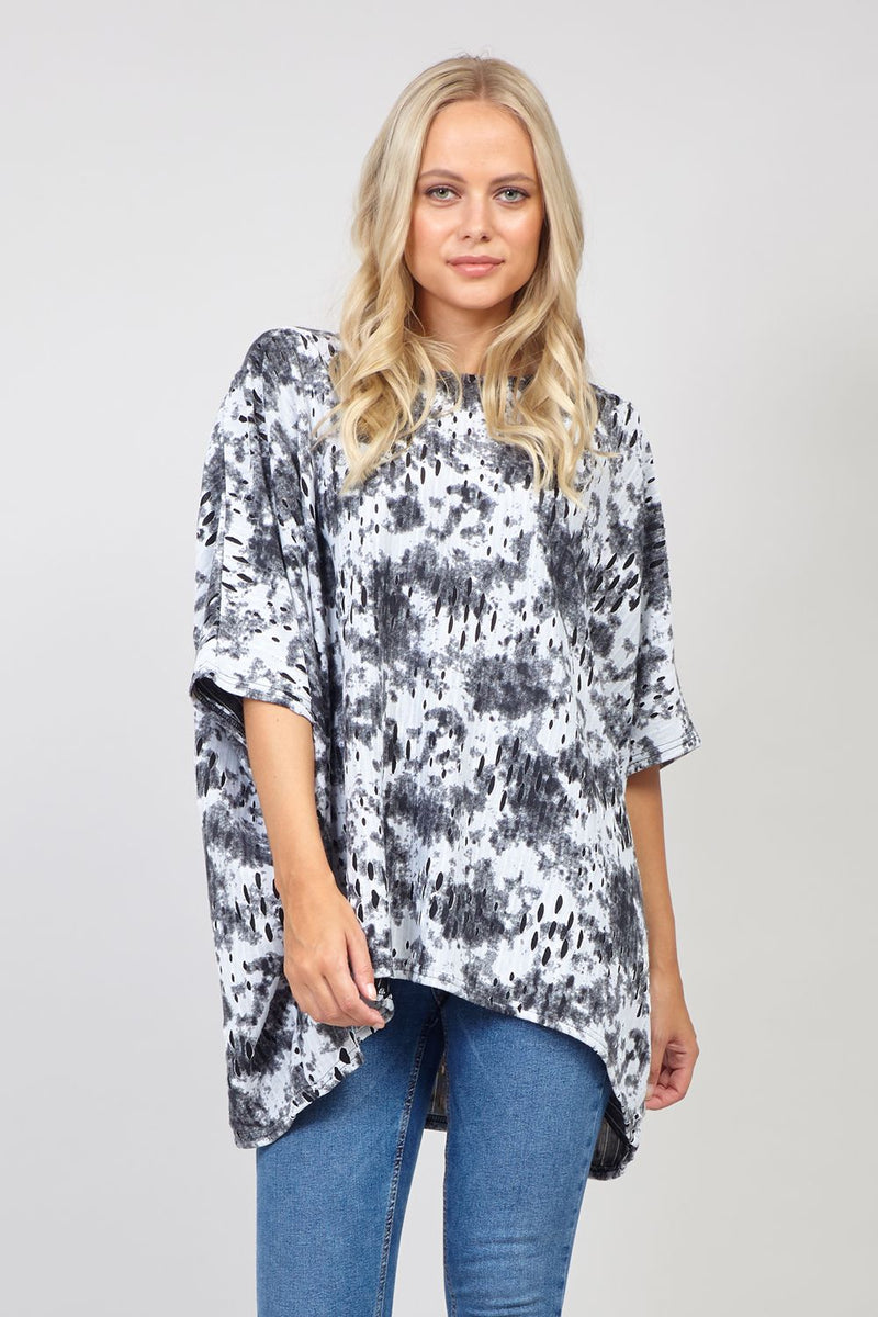 Black | Abstract Oversized Top