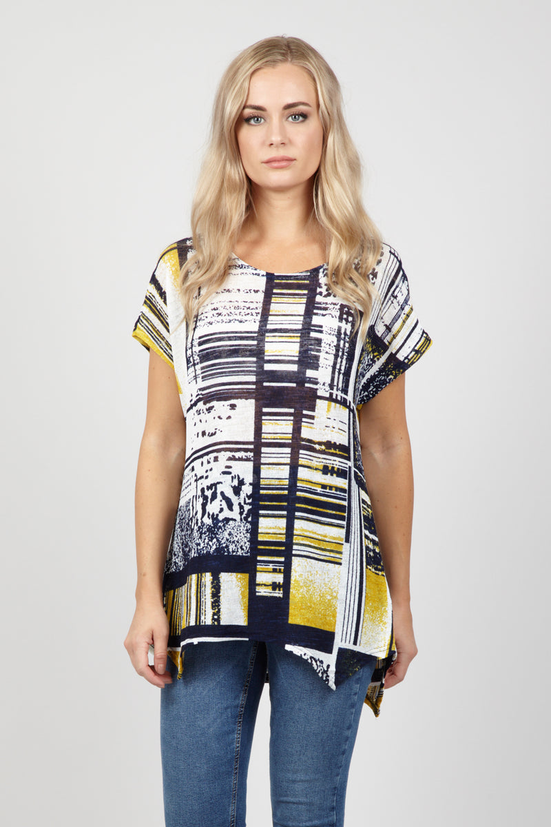 Yellow | Check Print Batwing Top
