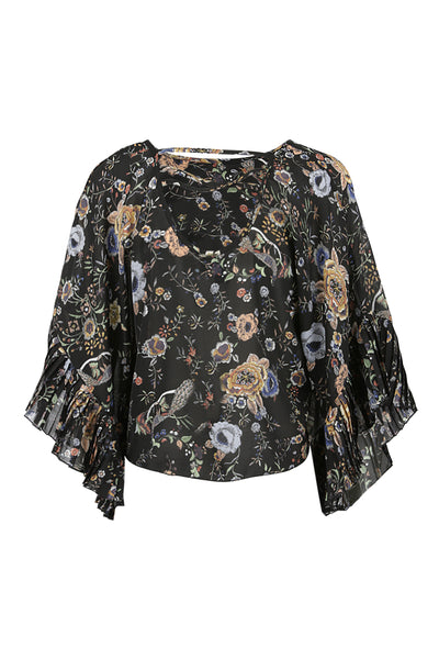 Floral Peacock Print Blouse - Izabel London