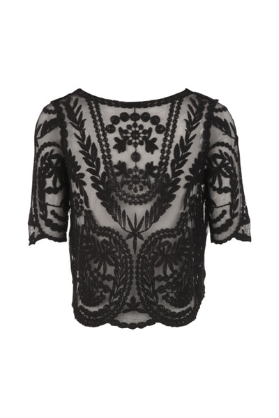 Embroidered Mesh Top - Izabel London