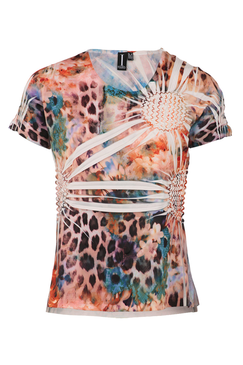 016ee9c514cfa5 Blurred Animal Print Top - Izabel London