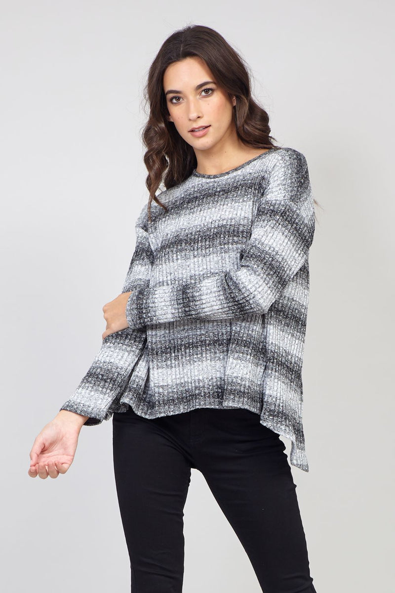Grey | Striped Knit Jumper