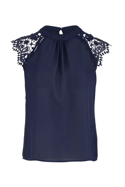 Lace Sleeve Shell Top - Izabel London