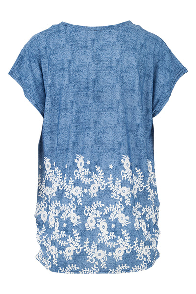 Floral Curved Hem Tee - Izabel London