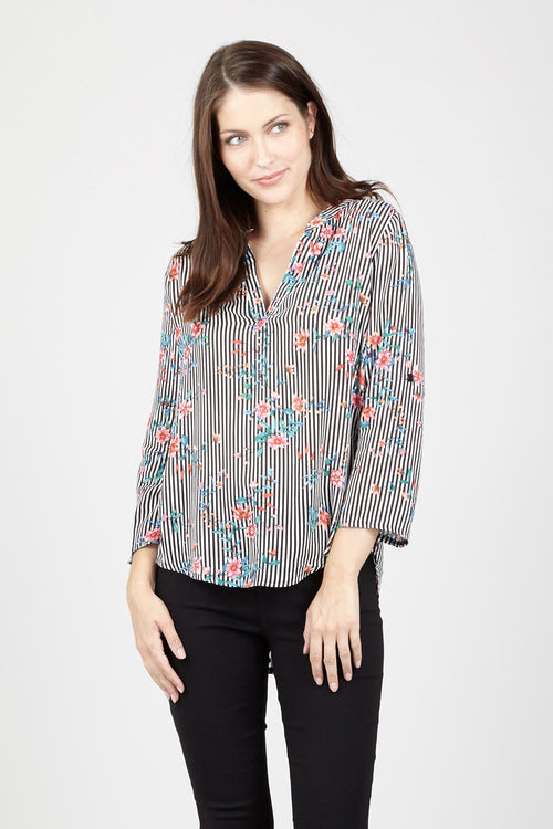 Floral & Stripe Blouse - Izabel London