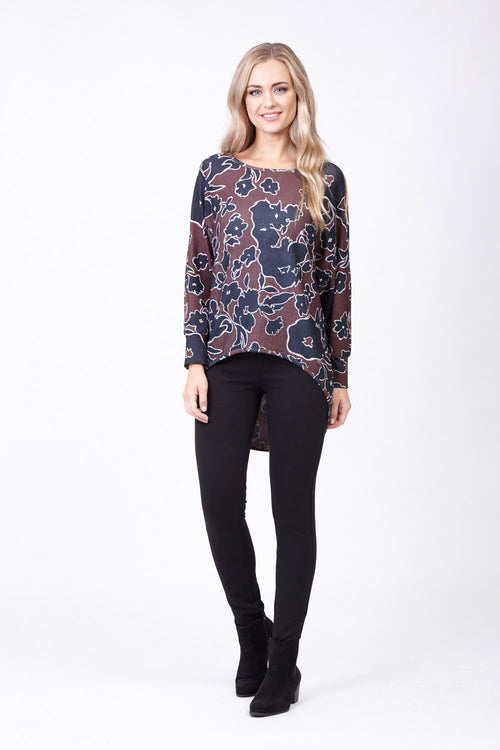 Floral Dip Hem Top - Izabel London