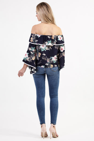 Frill Bardot Top - Izabel London