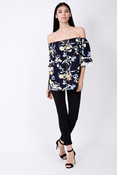 Floral Crochet Bardot Top - Izabel London