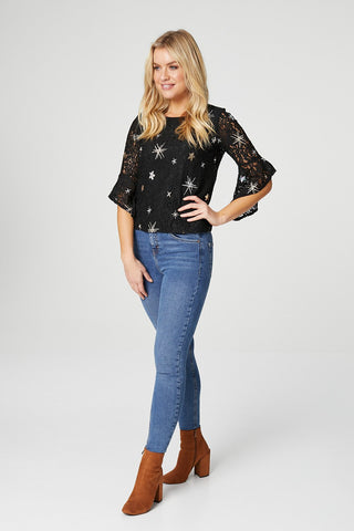 Textured Top With Angel Sleeves