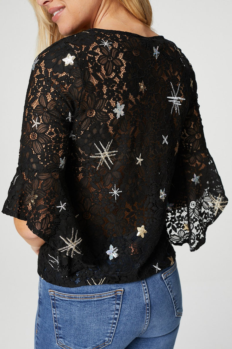 Black | Star Motif Embroidered Lace Blouse