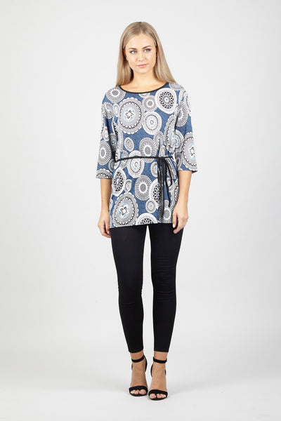 Mosaic Tie Waist Top - Izabel London