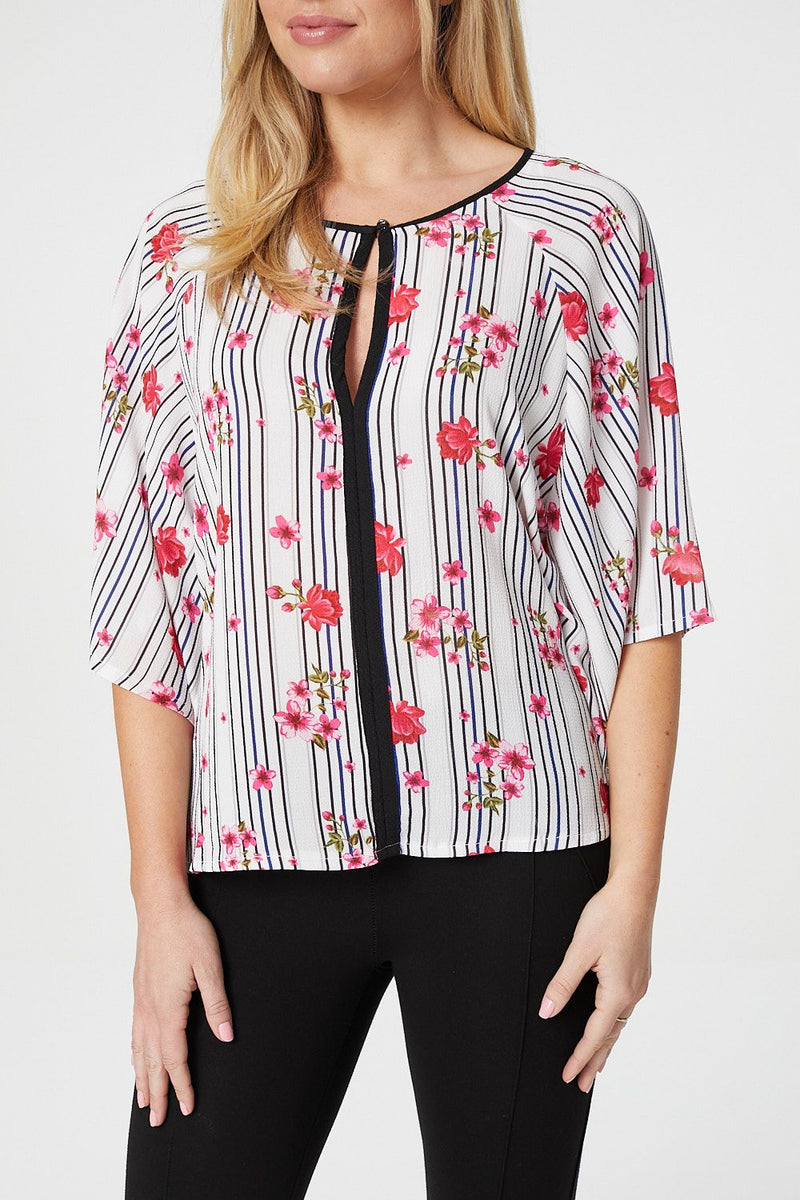 White | Floral & Stripe Blouse