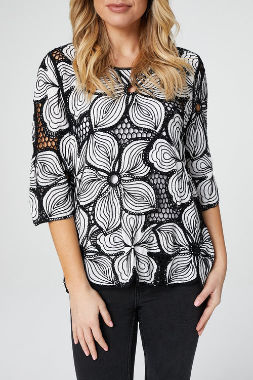 Floral Crochet Top - Izabel London