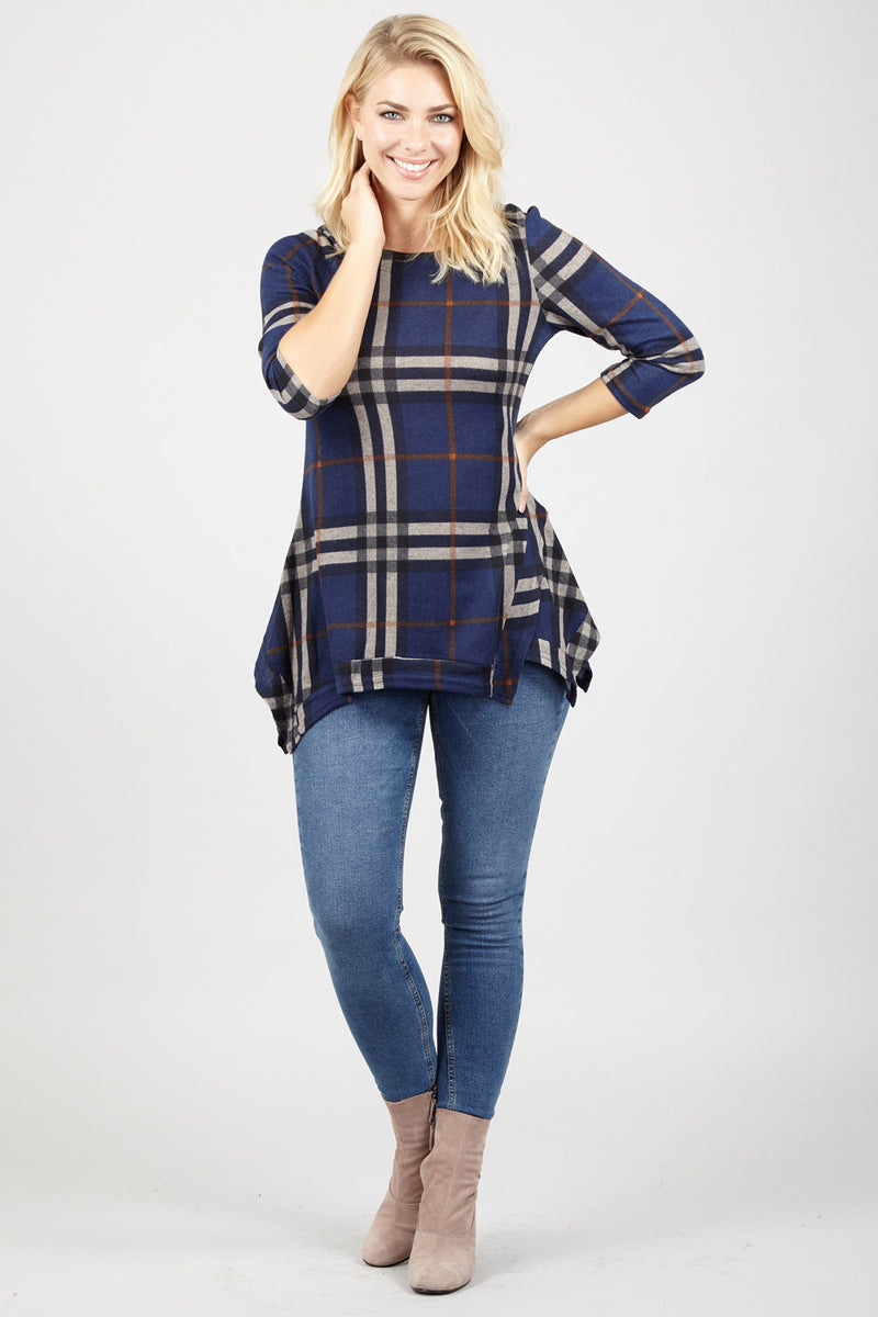 Navy | Checked Swing Top | Izabel London