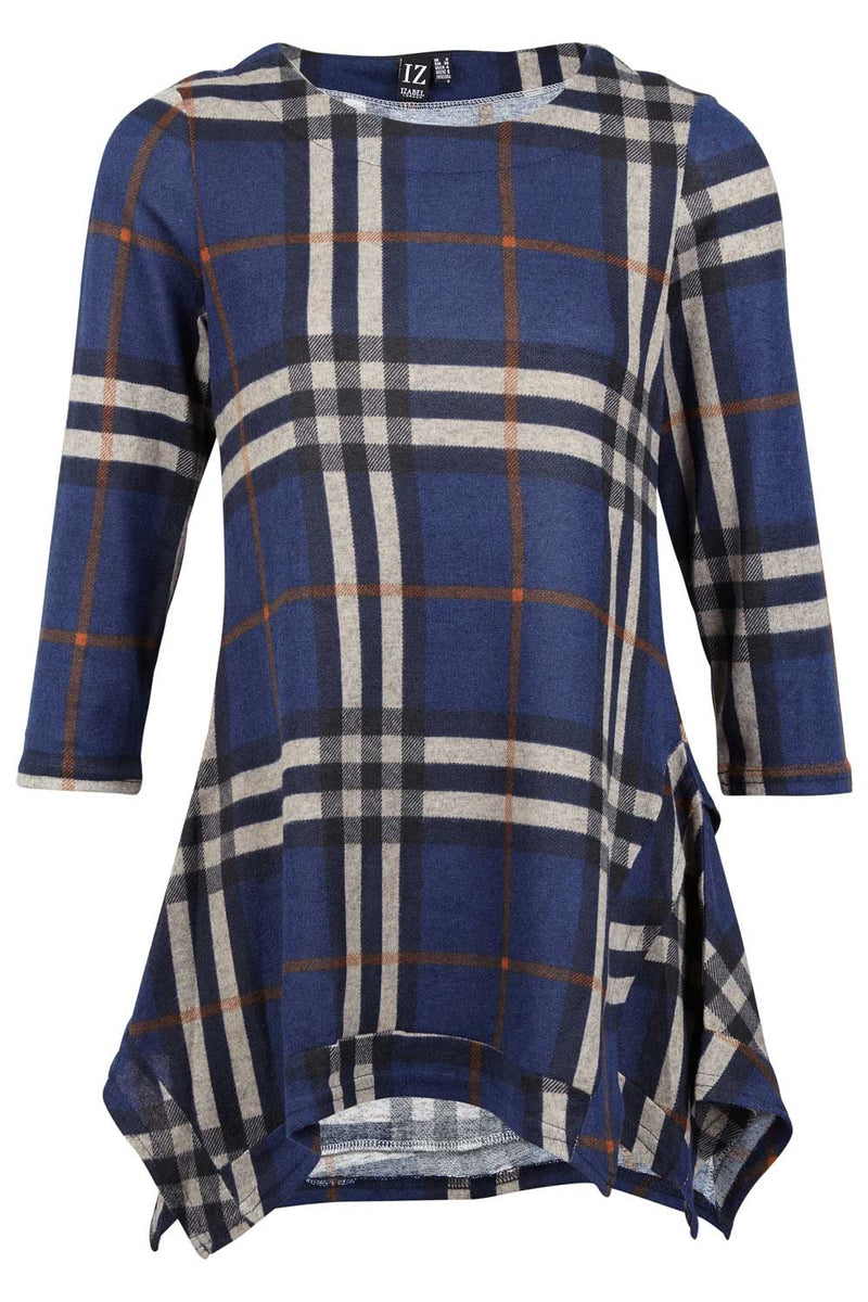 Navy | Checked Swing Top