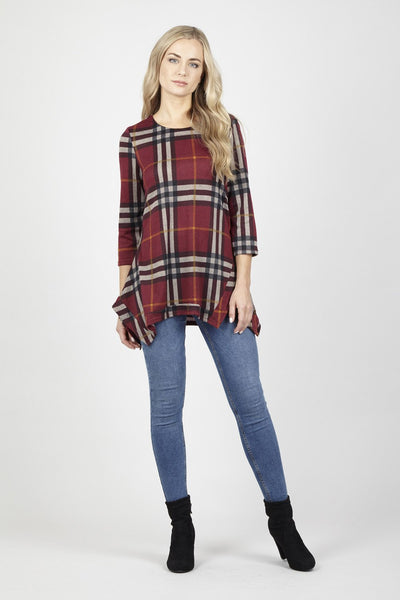 Red | Checked Swing Top | Izabel London