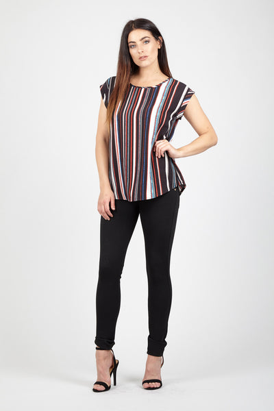 Striped Boxy Tee - Izabel London