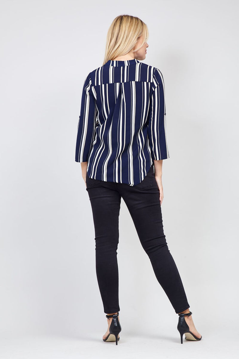 Navy | Striped Blouse