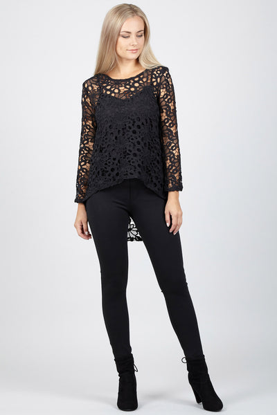 Black | Crochet Dip Hem Top
