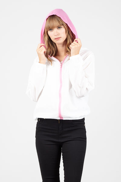 Contrast Zip Front Hooded Mac - Izabel London