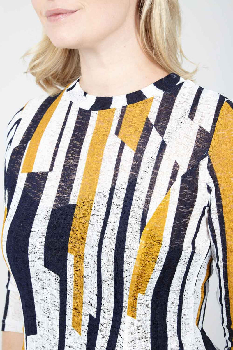 Yellow | Striped Jersey Top