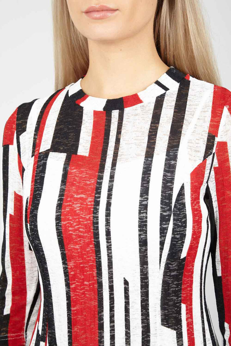 Red | Striped Jersey Top