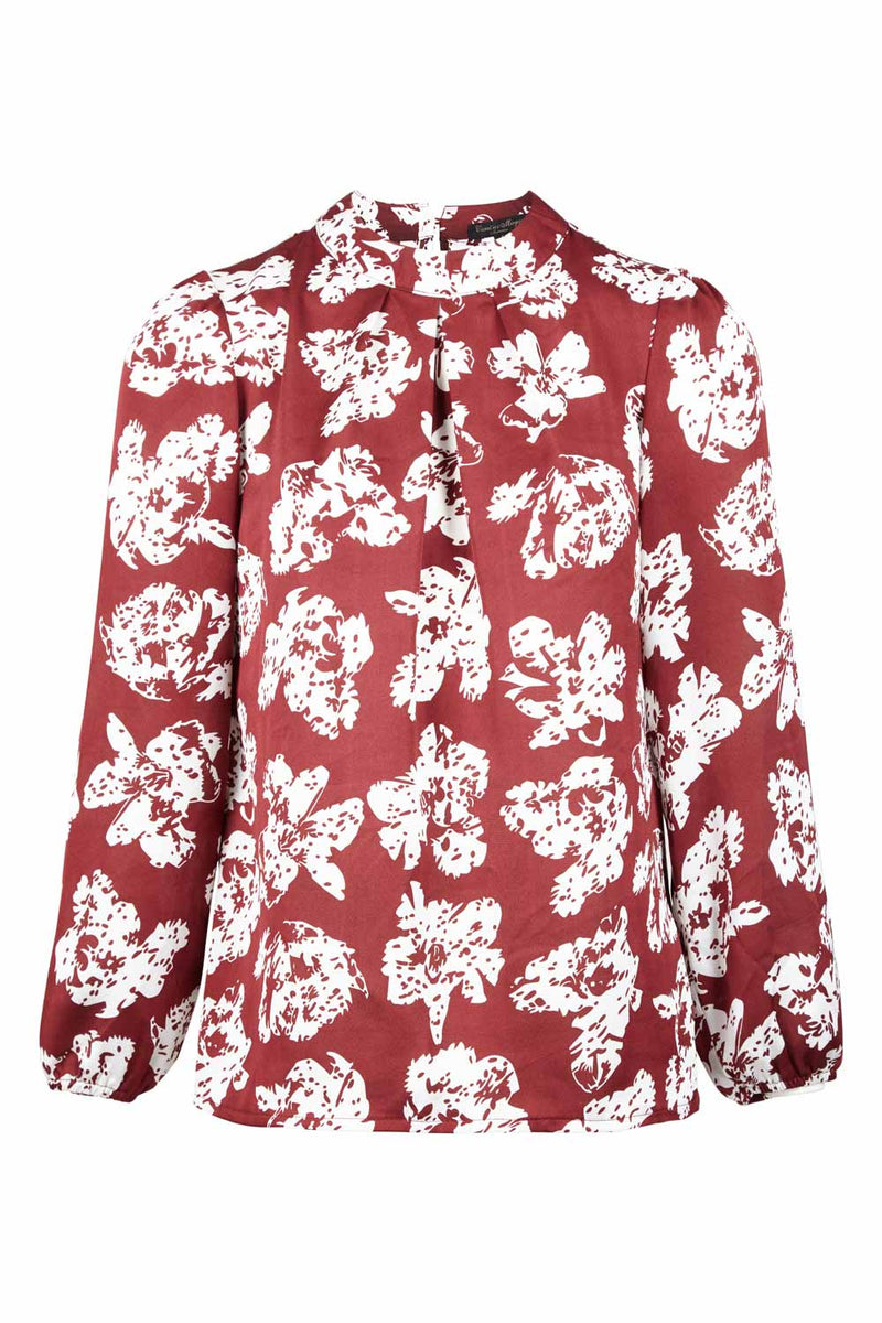 Red | Floral Shell Blouse