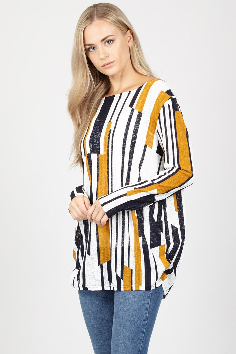 Abstract Striped Top - Izabel London