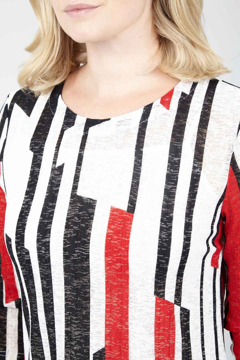 Red | Striped Asymmetric Tunic Top