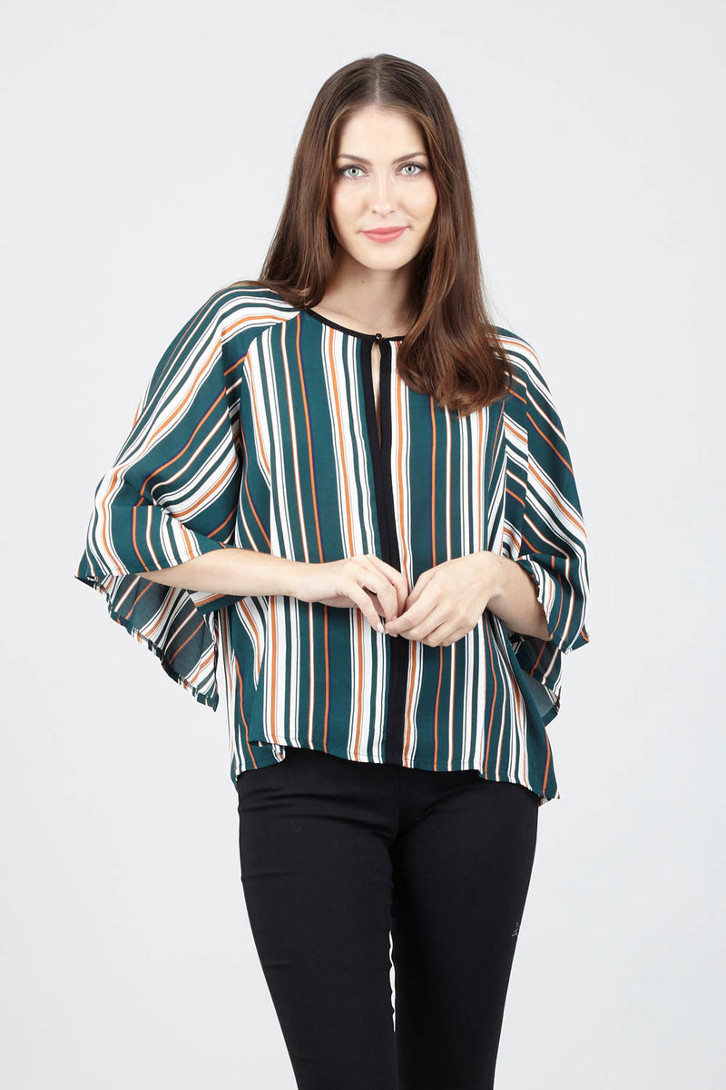Green | Striped Batwing Top