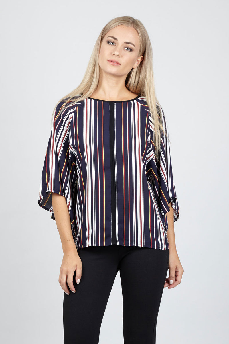 Navy | Striped Batwing Top