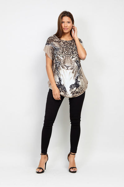 Leopard Print T-Shirt - Izabel London