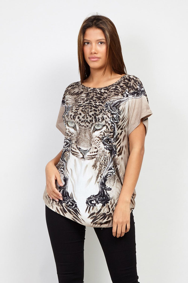 Brown | Leopard Print T-Shirt