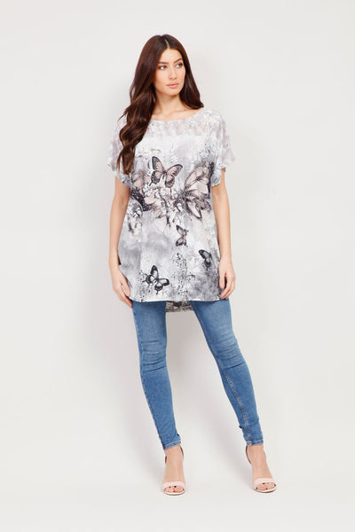 Butterfly Print Longline T-Shirt - Izabel London