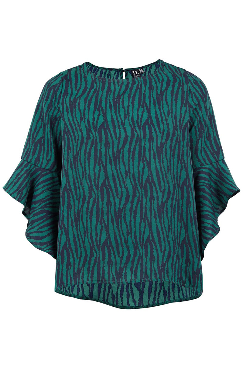 Green | Zebra Ruffle Sleeve Top