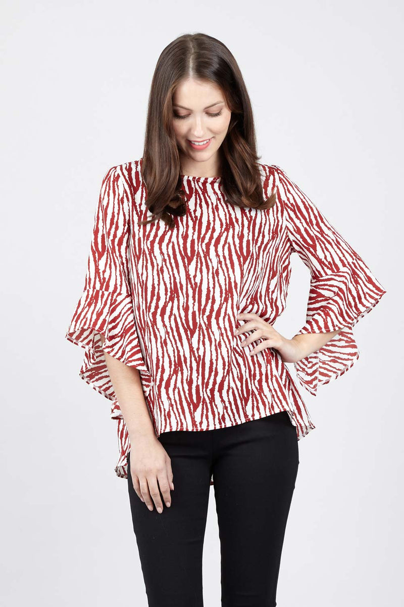 Red | Zebra Ruffle Sleeve Top