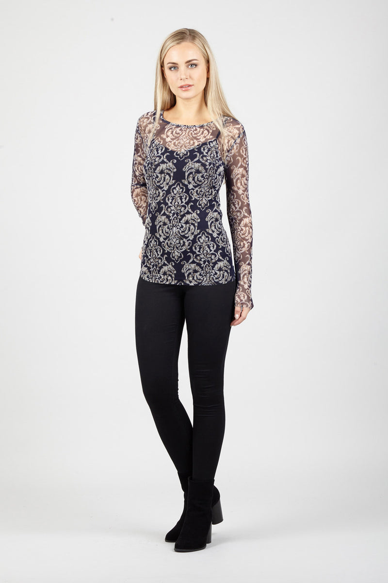 Navy | Damask Sheer Top | Izabel London
