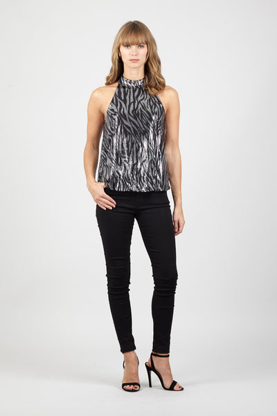 Black | Zebra Sequin Top