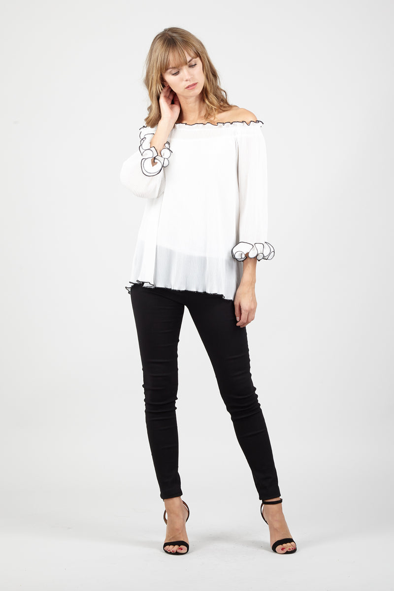 White | Frilled Bardot Top