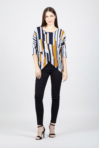 Striped Cross Front Top - Izabel London