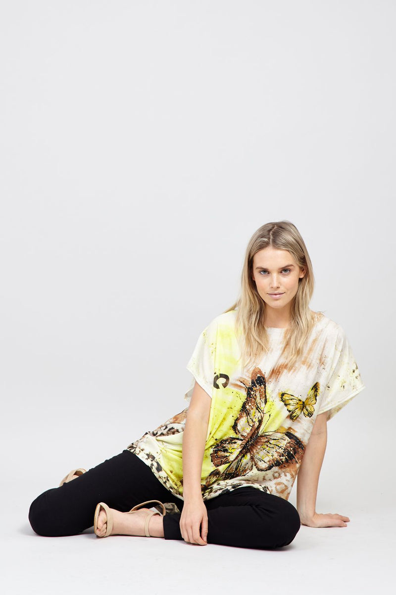 Yellow | Butterfly Print Tee