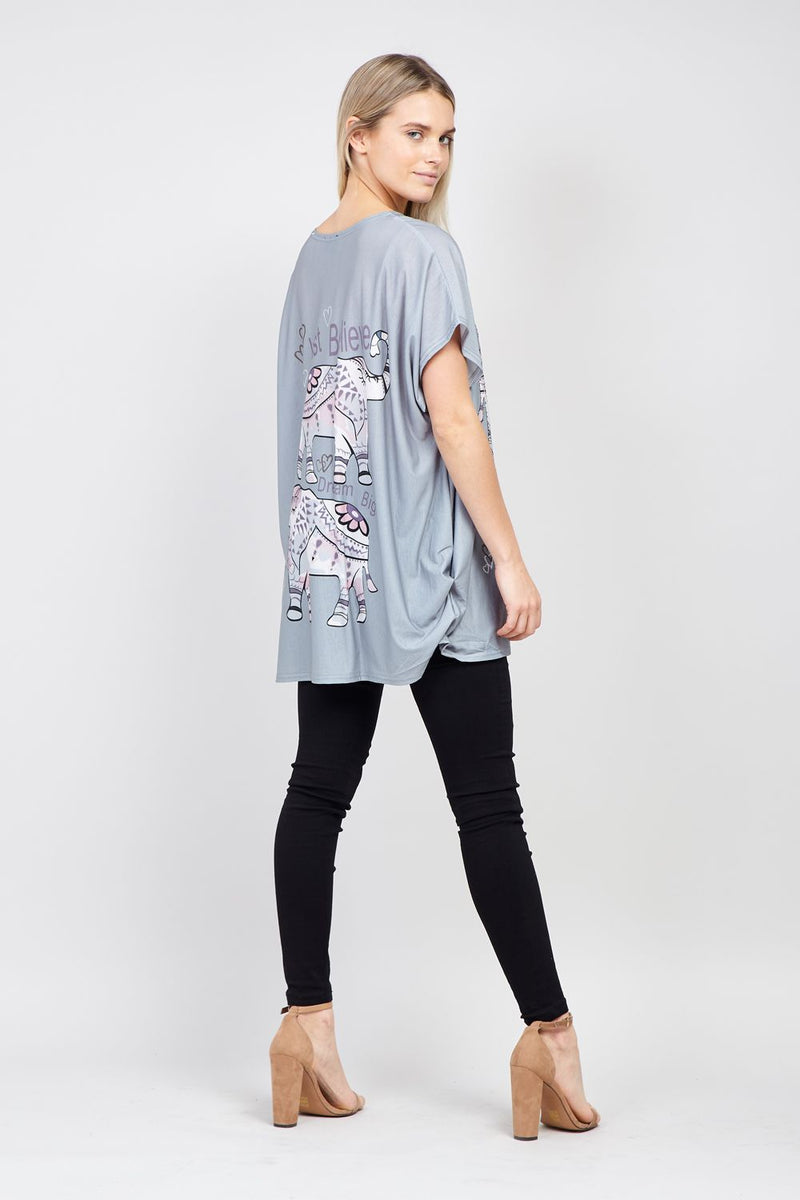 Grey | Elephant Slogan Tee