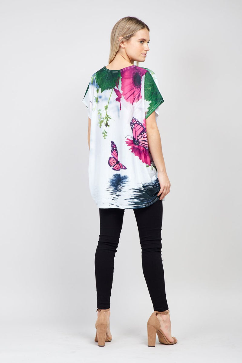 White | Abstract Floral Tee