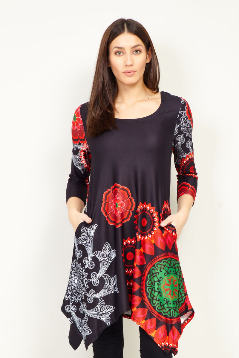 Black | Mosaic Print Longline Tunic Top