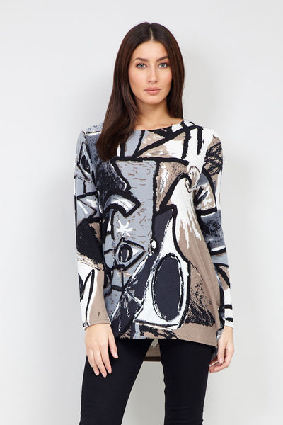 Abstract Print Longline Top