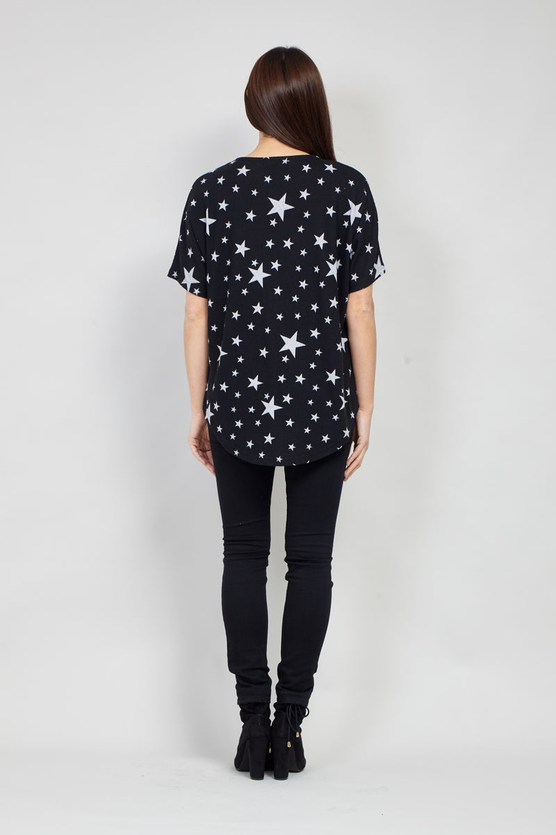 Black | Star Print Zip Front Top